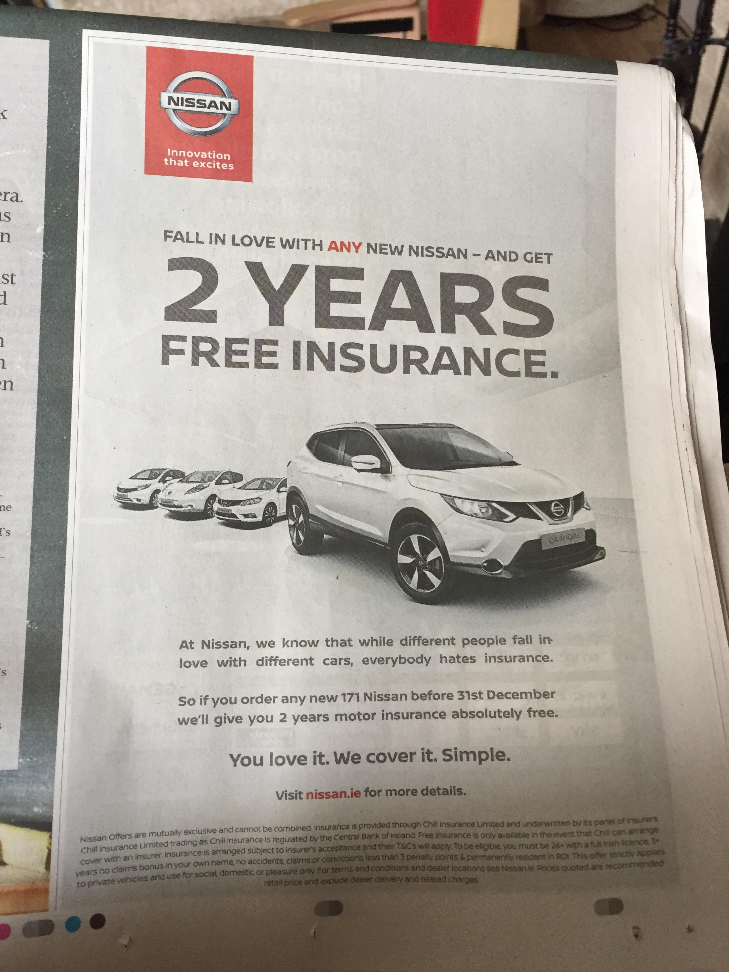 Nissan – 2 years free insurance
