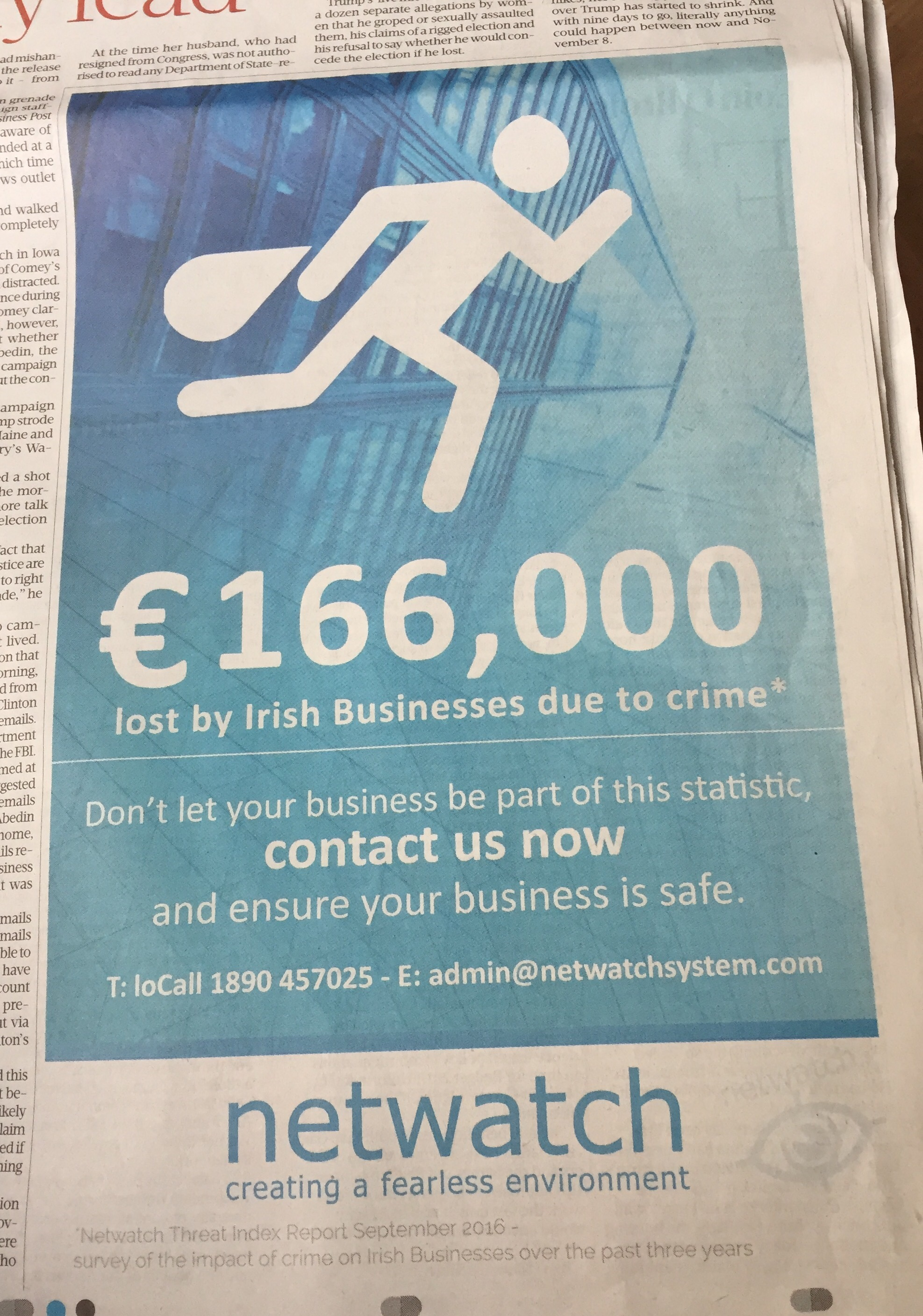 Netwatch – €166,000 lost by Irish businesses due to crime
