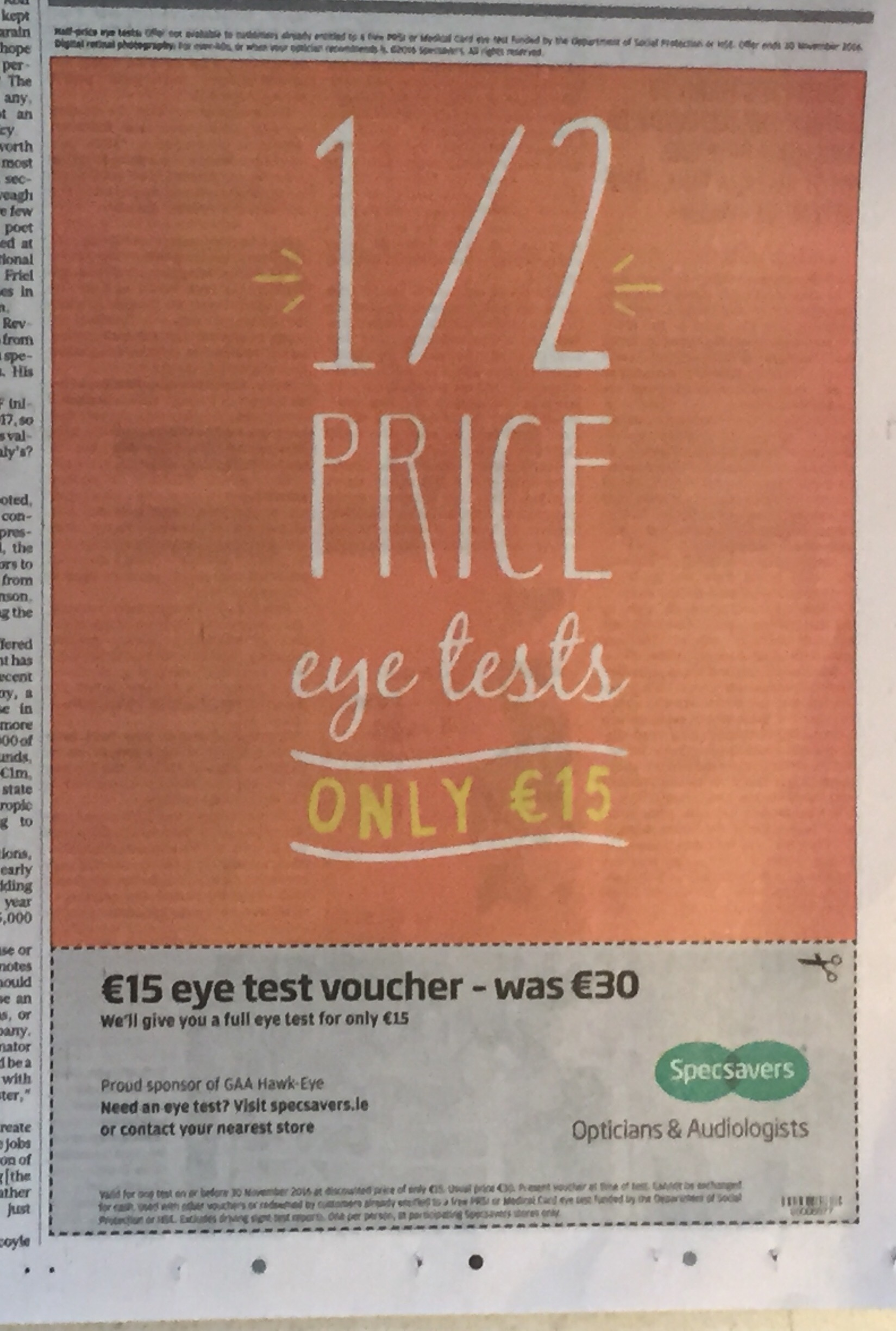 Specsavers – 1/2 price eye tests only €15