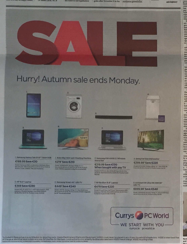 Currys PC world – Hurry autumn sale ends Monday