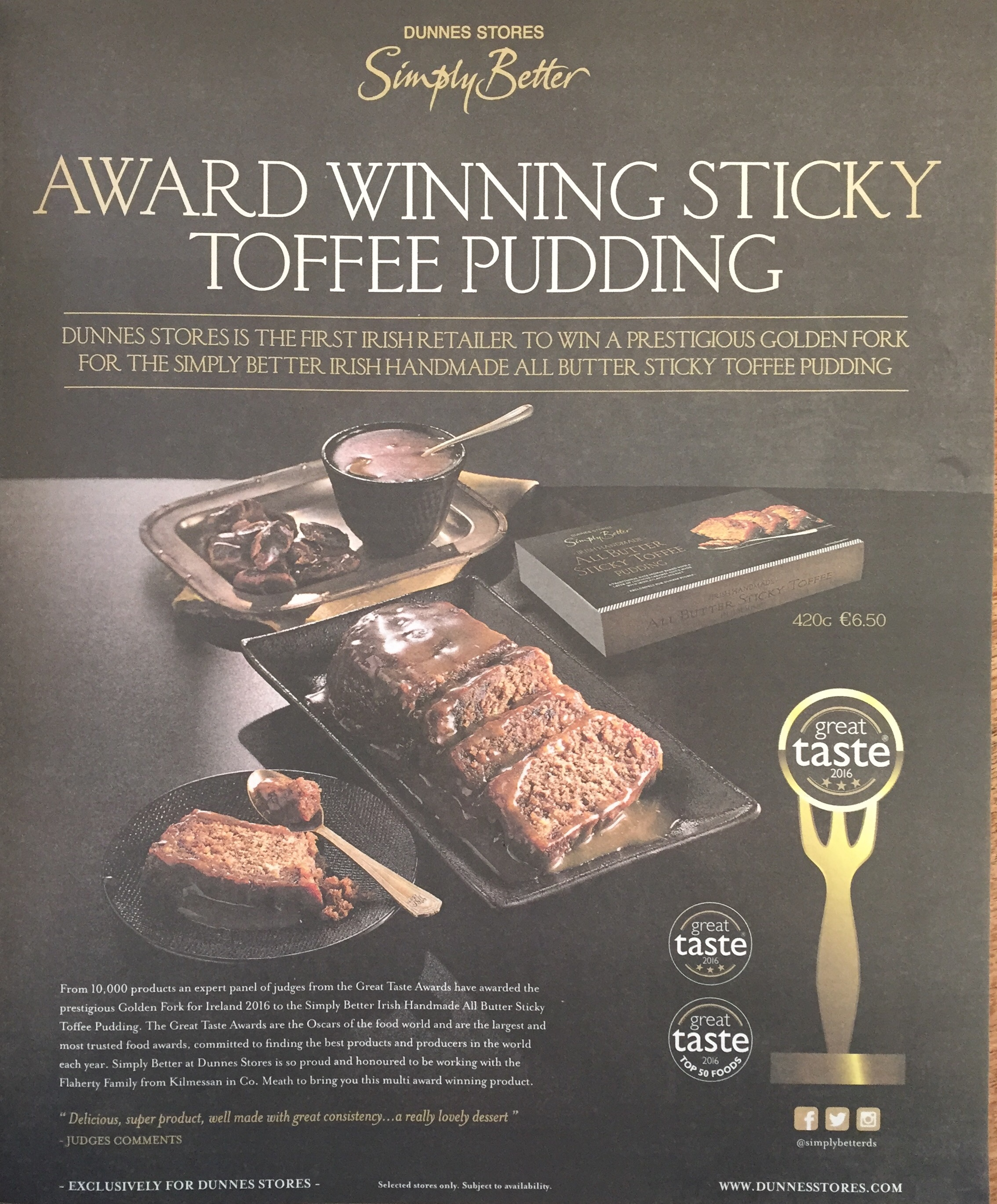 Dunnes stores – award winning sticky toffee pudding