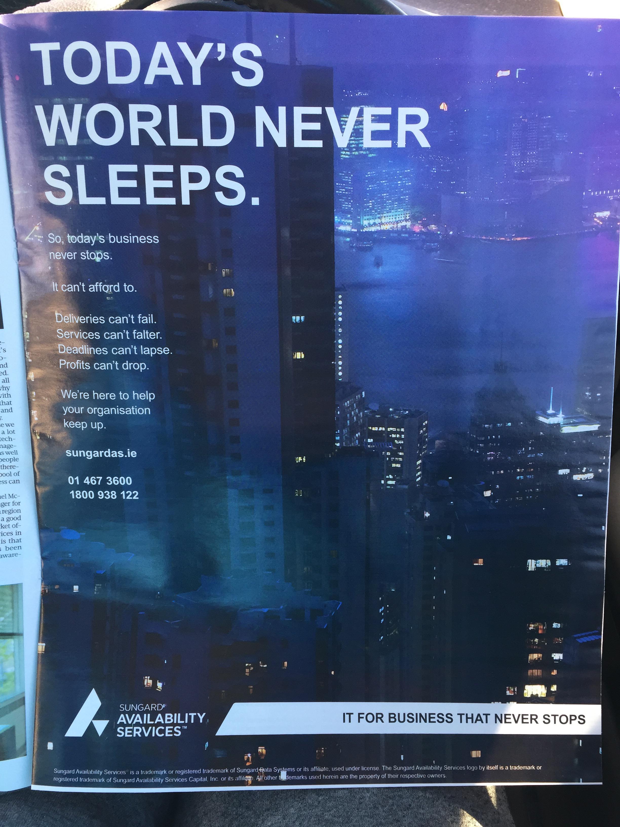 Sungard Availability Services – Today's world never sleeps