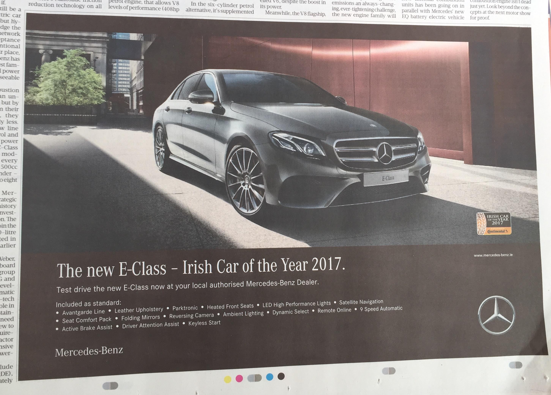 Mercedez e class – the new E class – Irish car of the year 2017