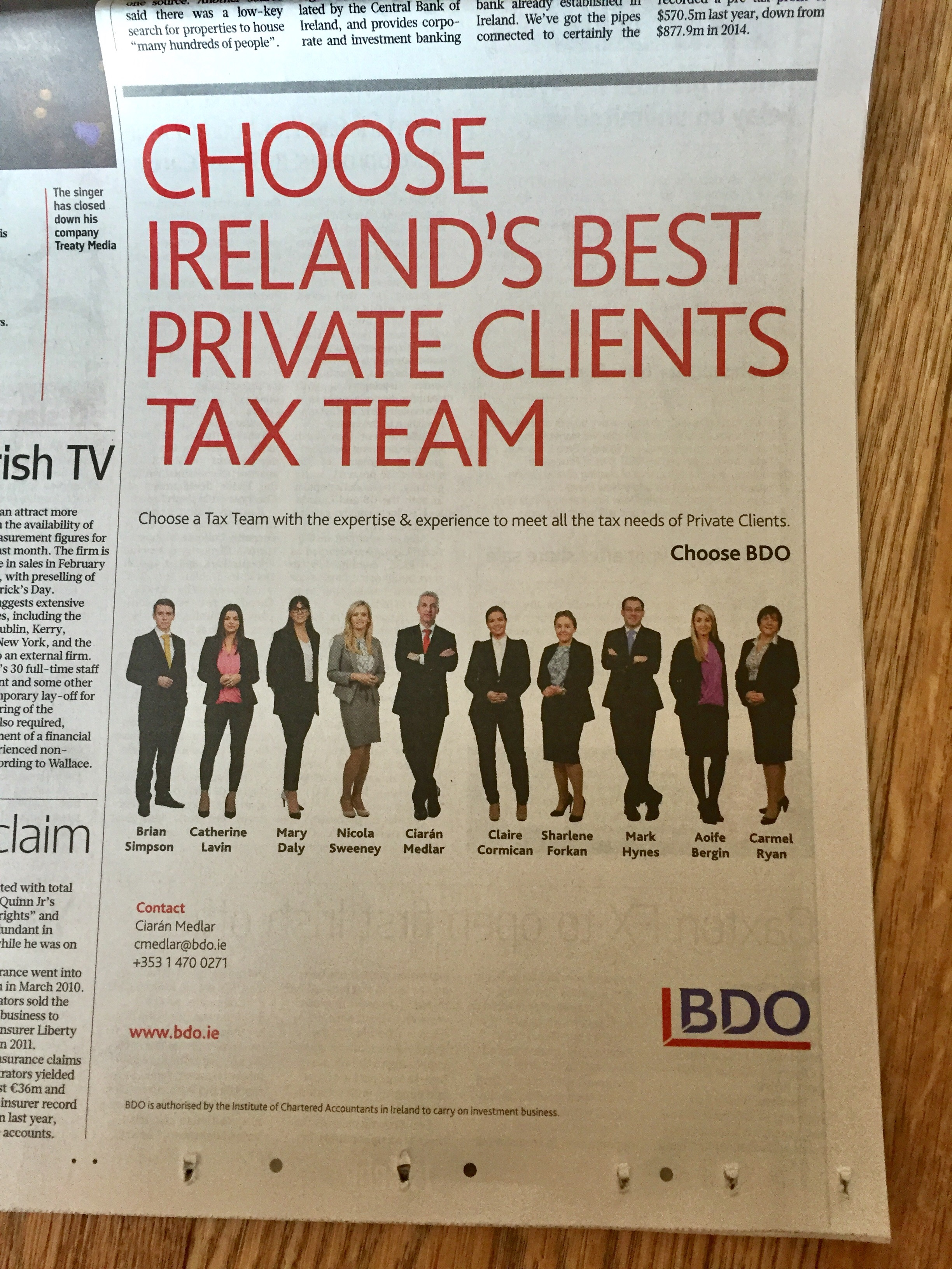 BDO – Choose Ireland's best private clients  tax team