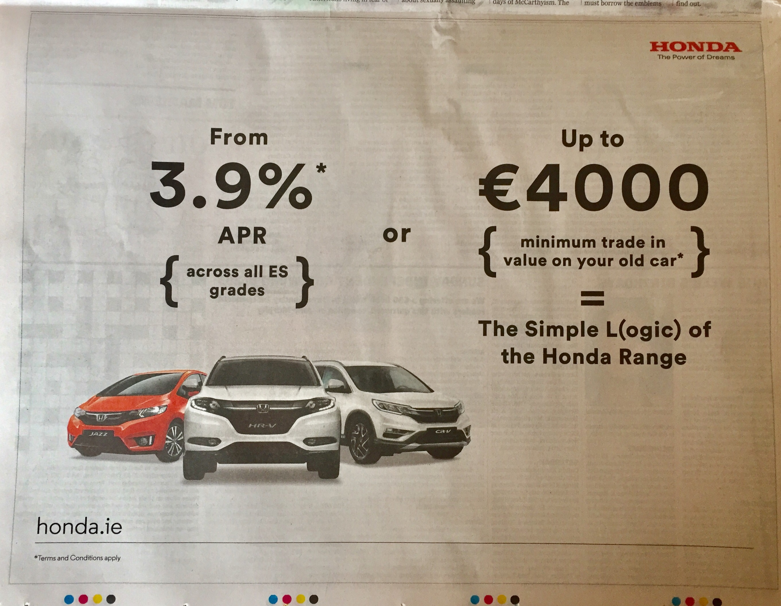 Honda – from 3.9%apr or up to €4000