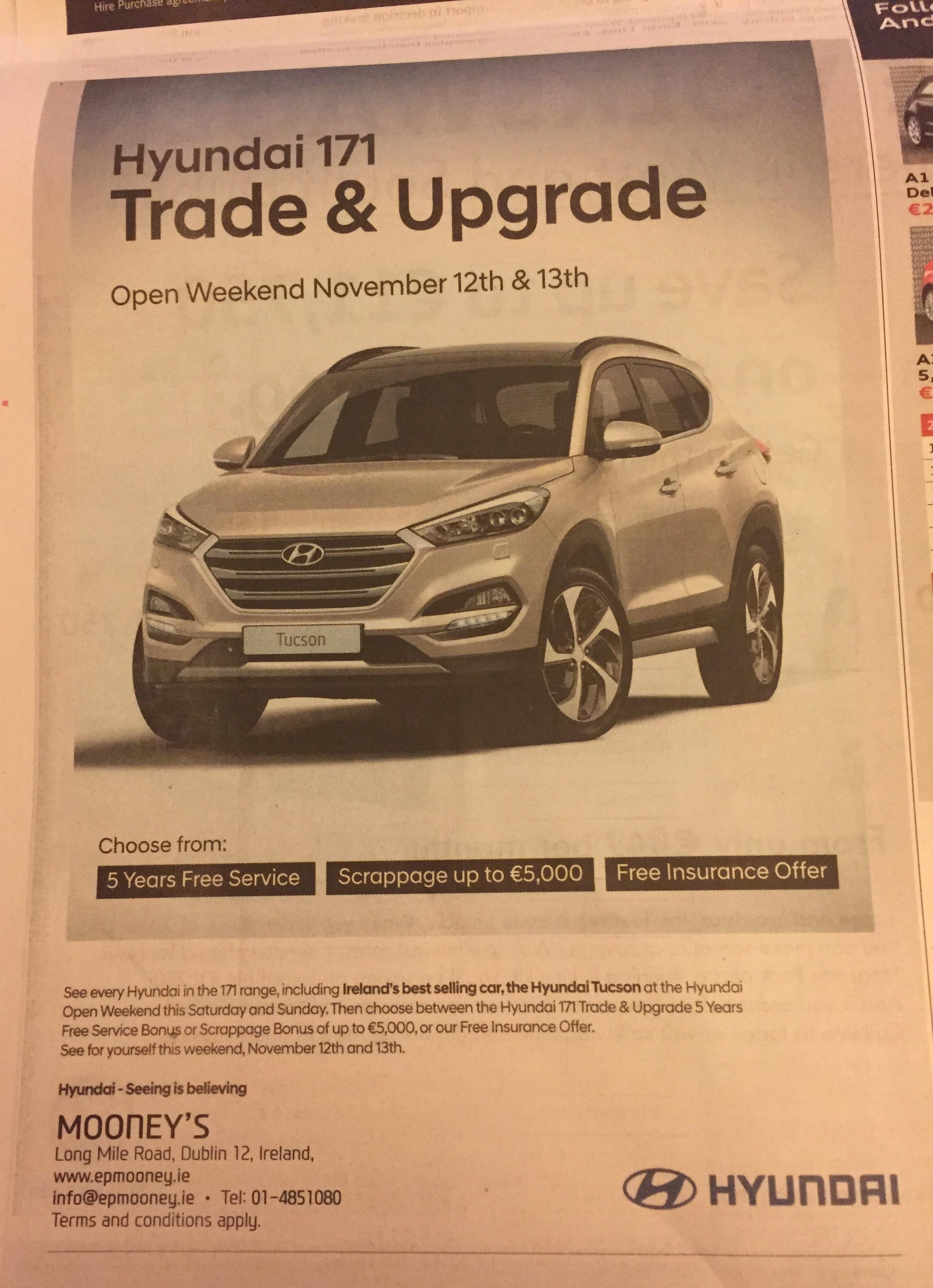 Hyundai – Hyundai 171 trade and upgrade – Mooney's