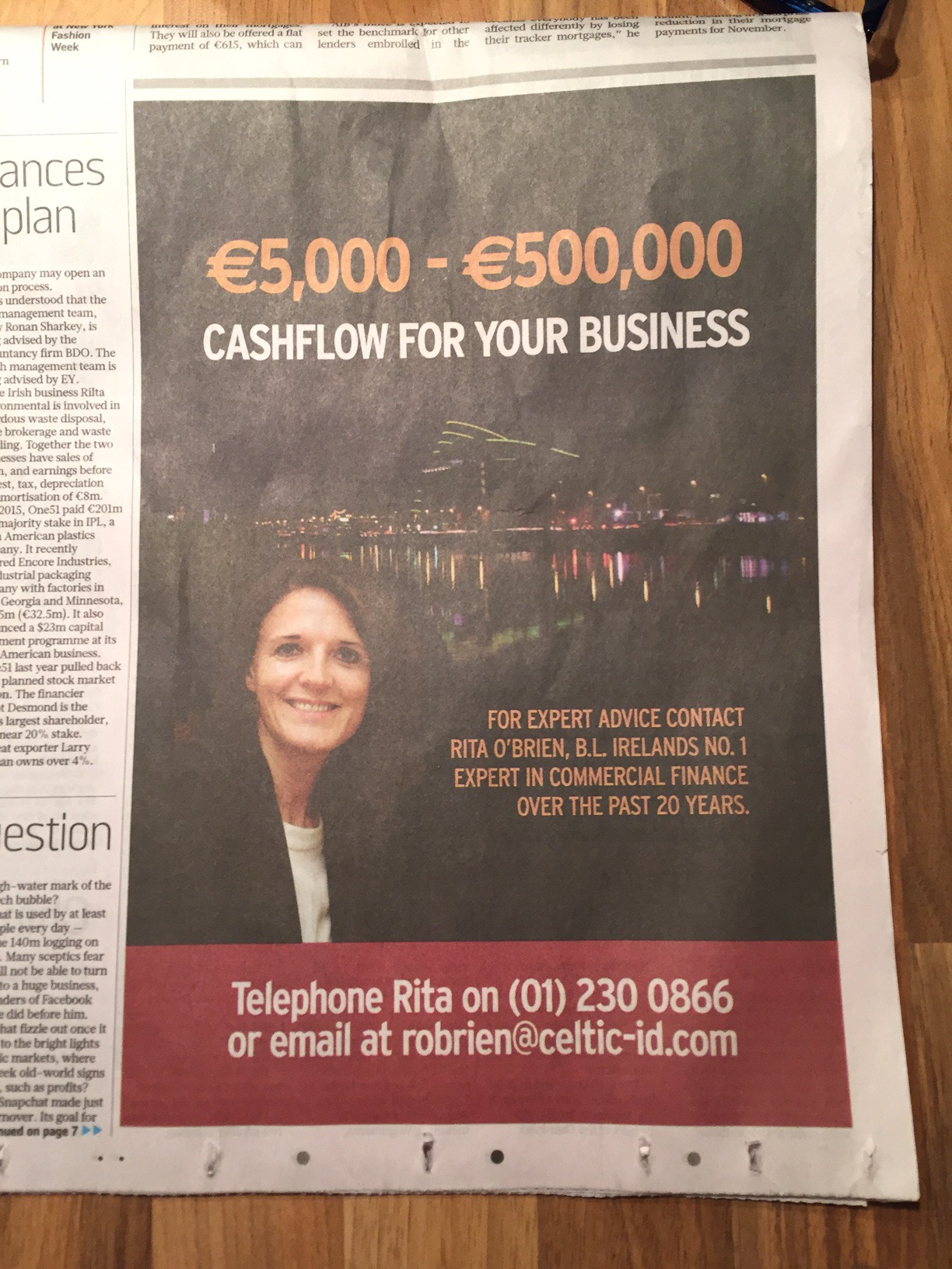 Celtic ID – €,5000 – €500,000 cashflow for your business