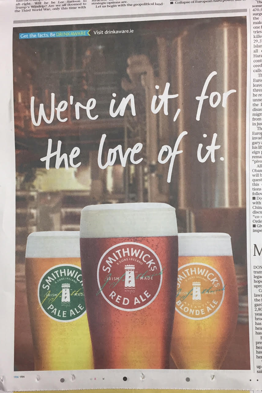 Smithwicks – we're in it, for the love of it