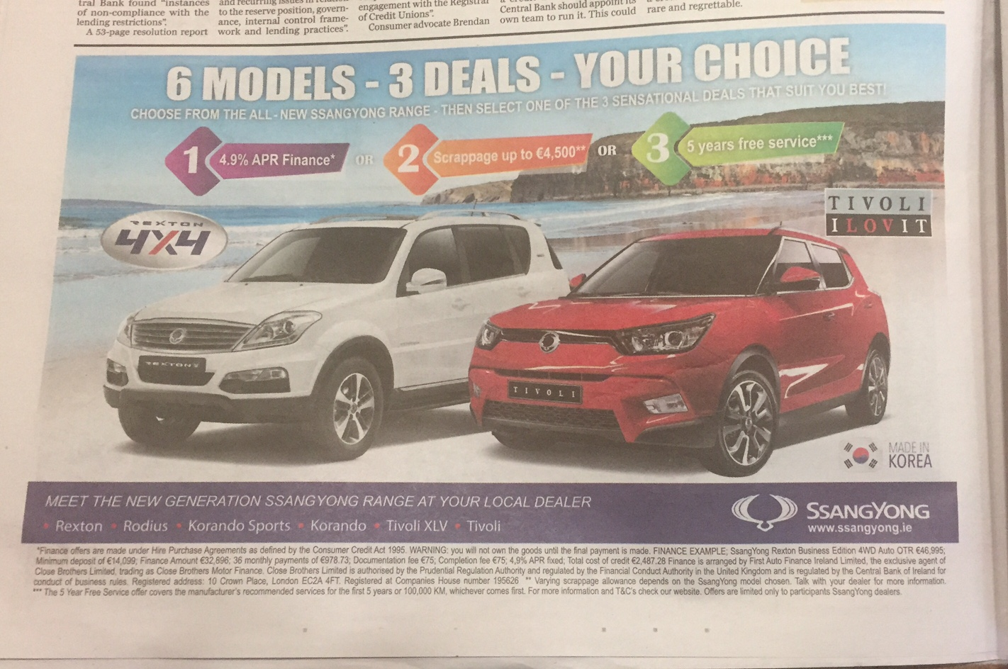 Ssang Yong – 6 models – 3 deals – your choice
