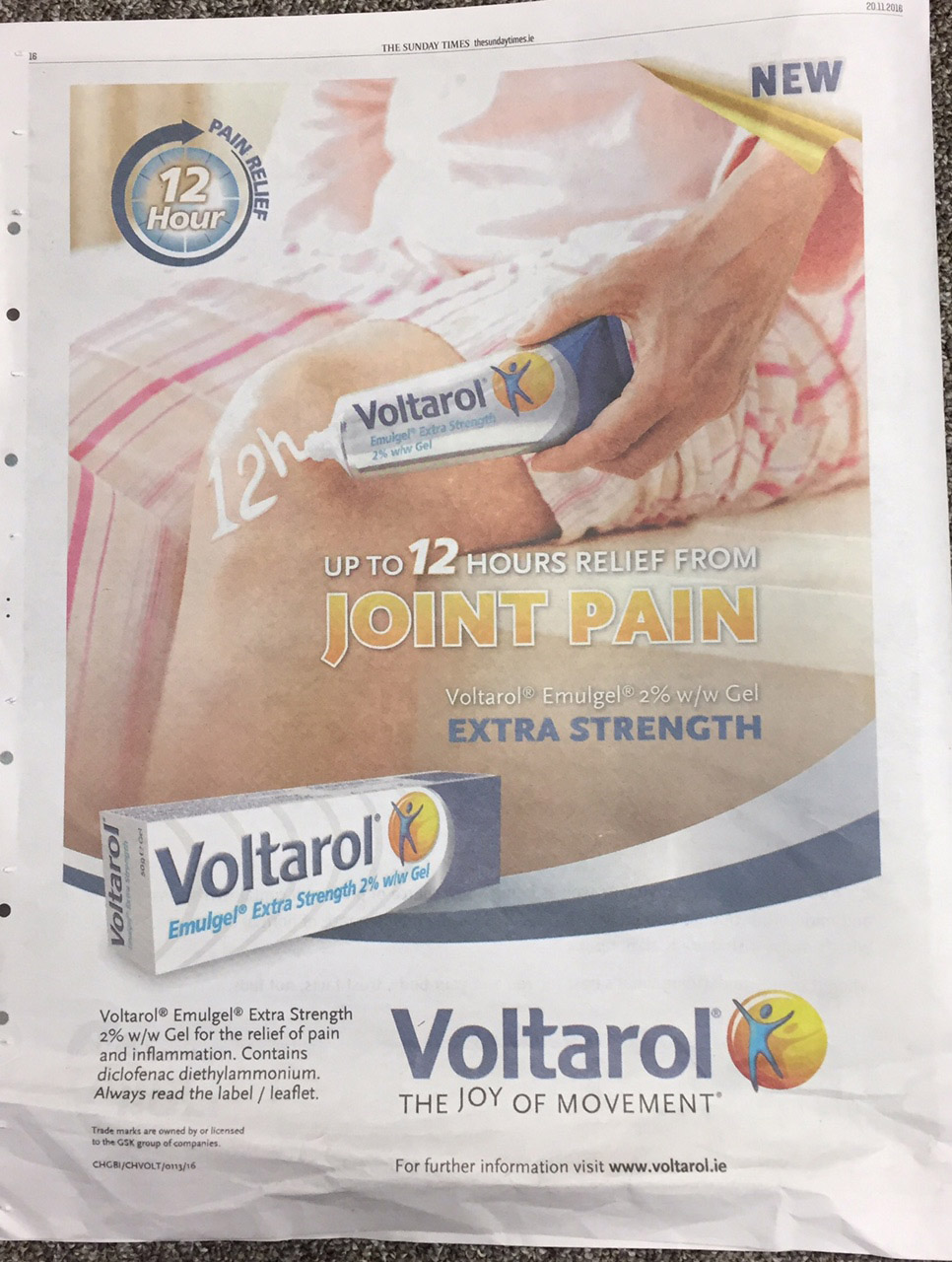 Voltarol – up to 12 hours relief from joint pain