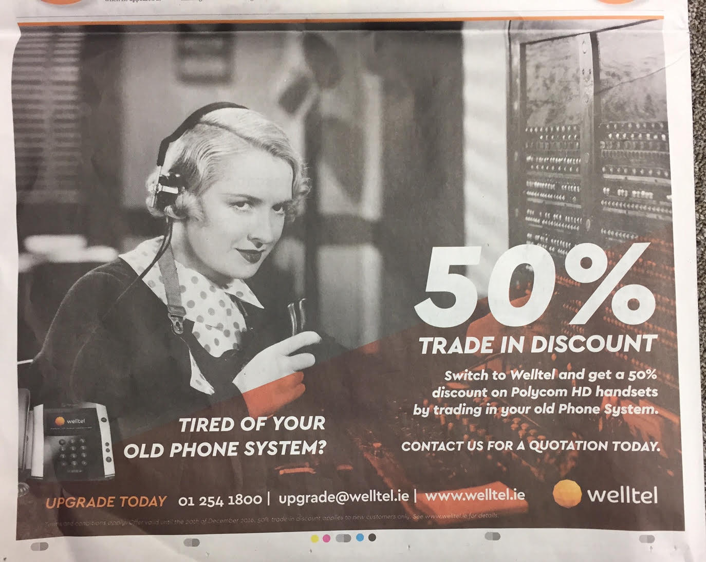 Welltel – tired of your old phone system – 50% trade in discount