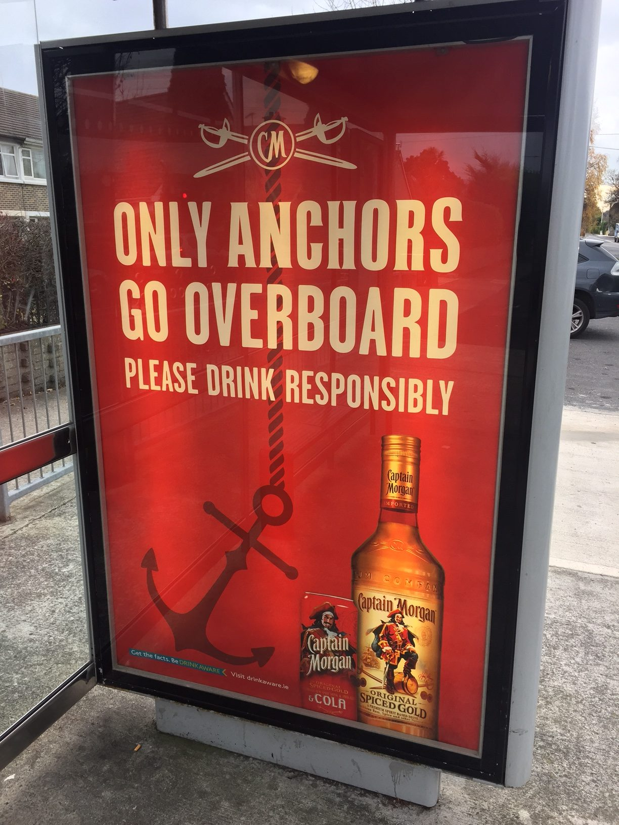Captain Morgan – only anchors go overboard – please drink responsibily