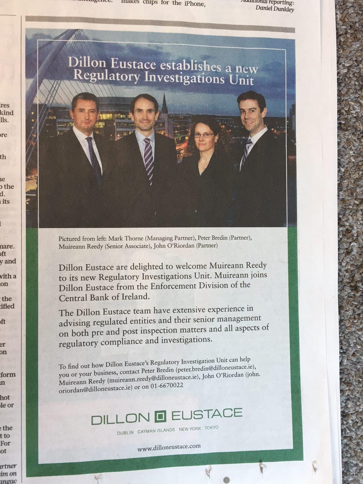 Dillon Eustace establishes a new Regulatory Investigations Unit