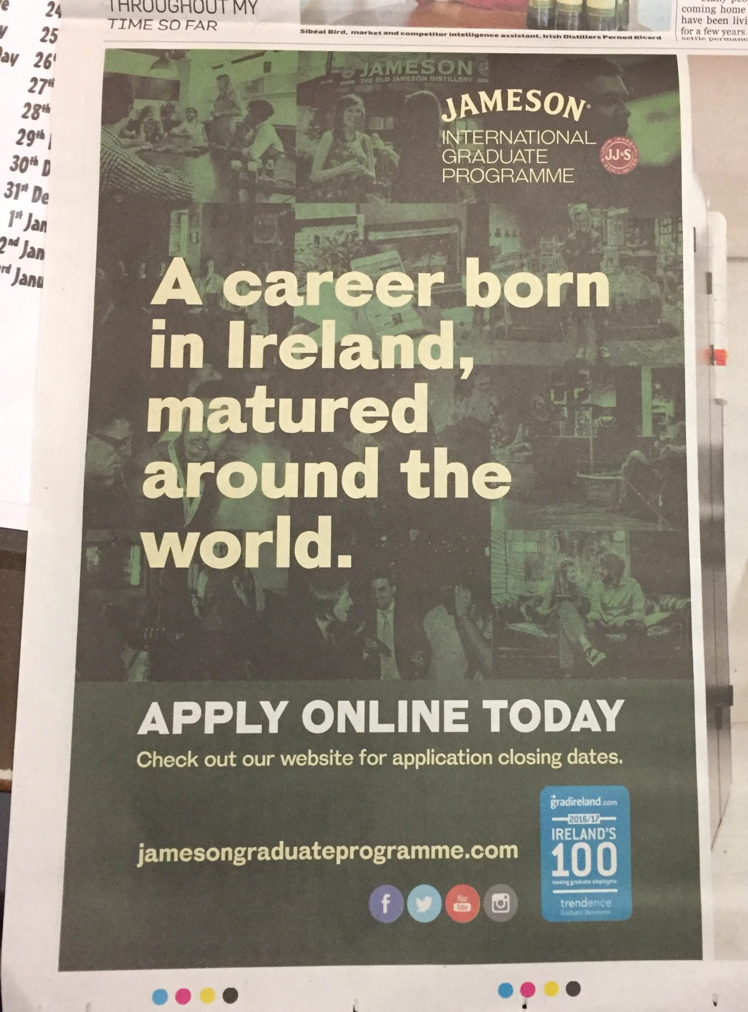 Jameson international graduate programme – a career born in Ireland, matured taping the world