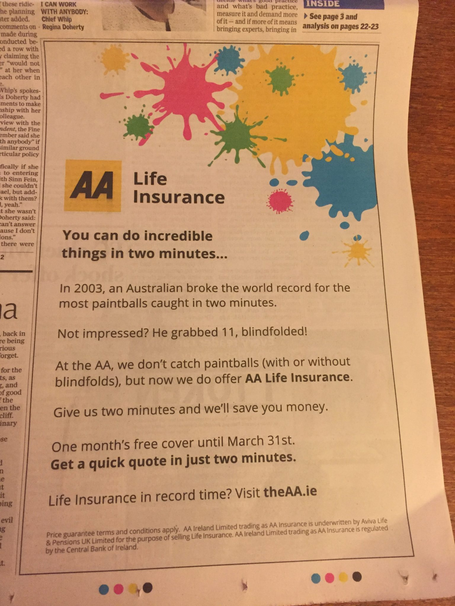 AA Life Insurance – you can do incredible things in two minutes