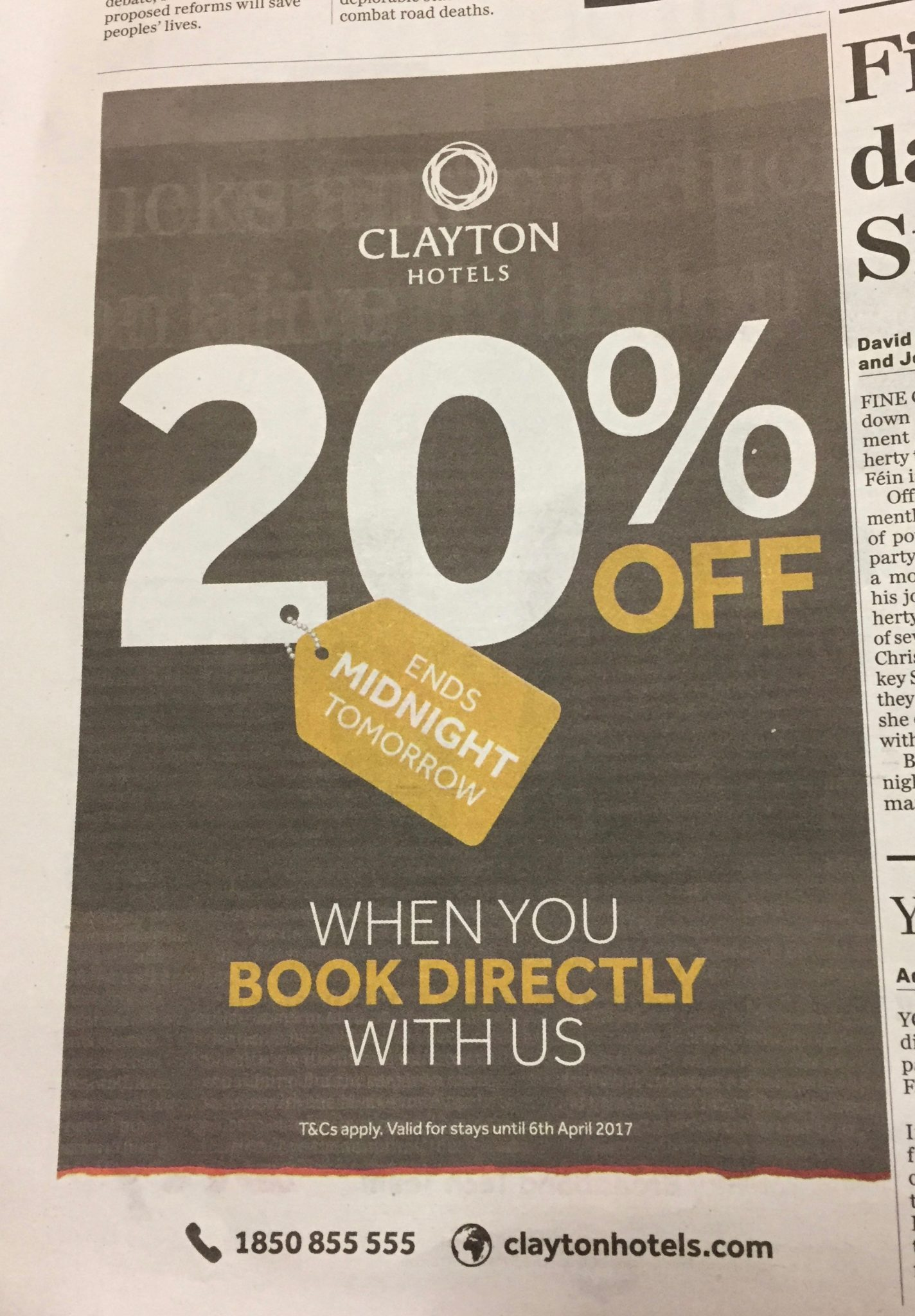 Clayton Hotels – 20% off when you book directly with us